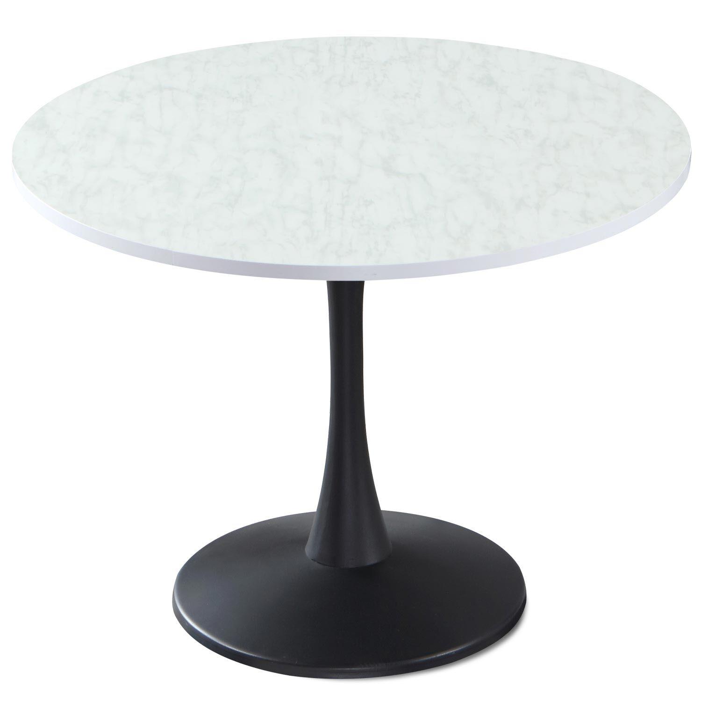 MenzzoPremium Table ronde Necy Noir et Effet Marbre