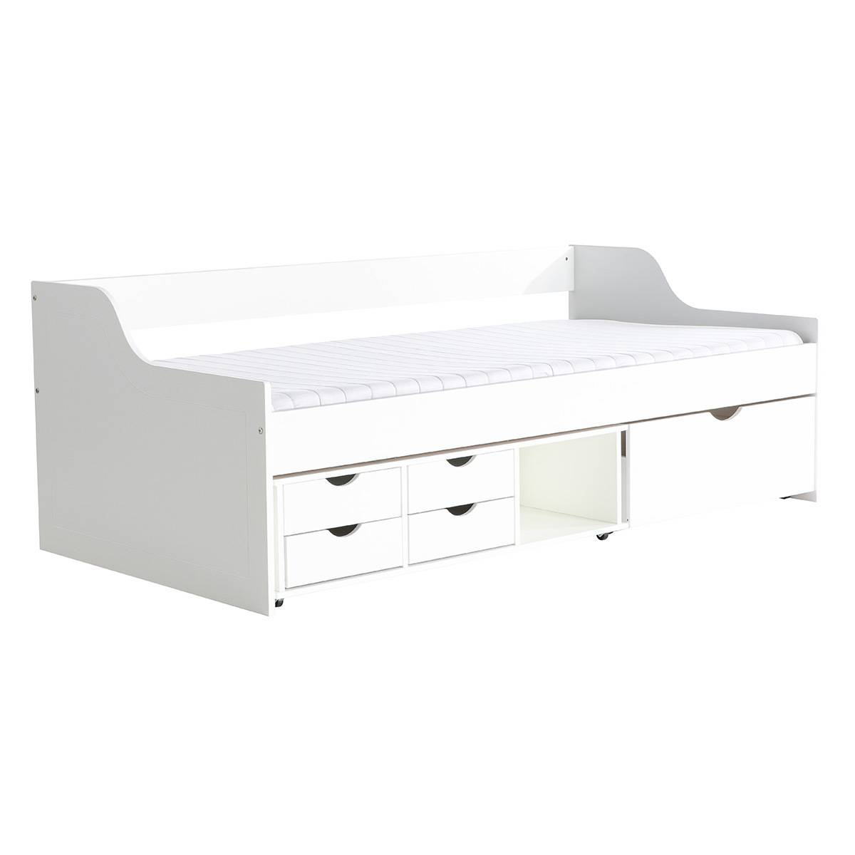 Miliboo Lit enfant à tiroirs 90x190 blanc CLEO