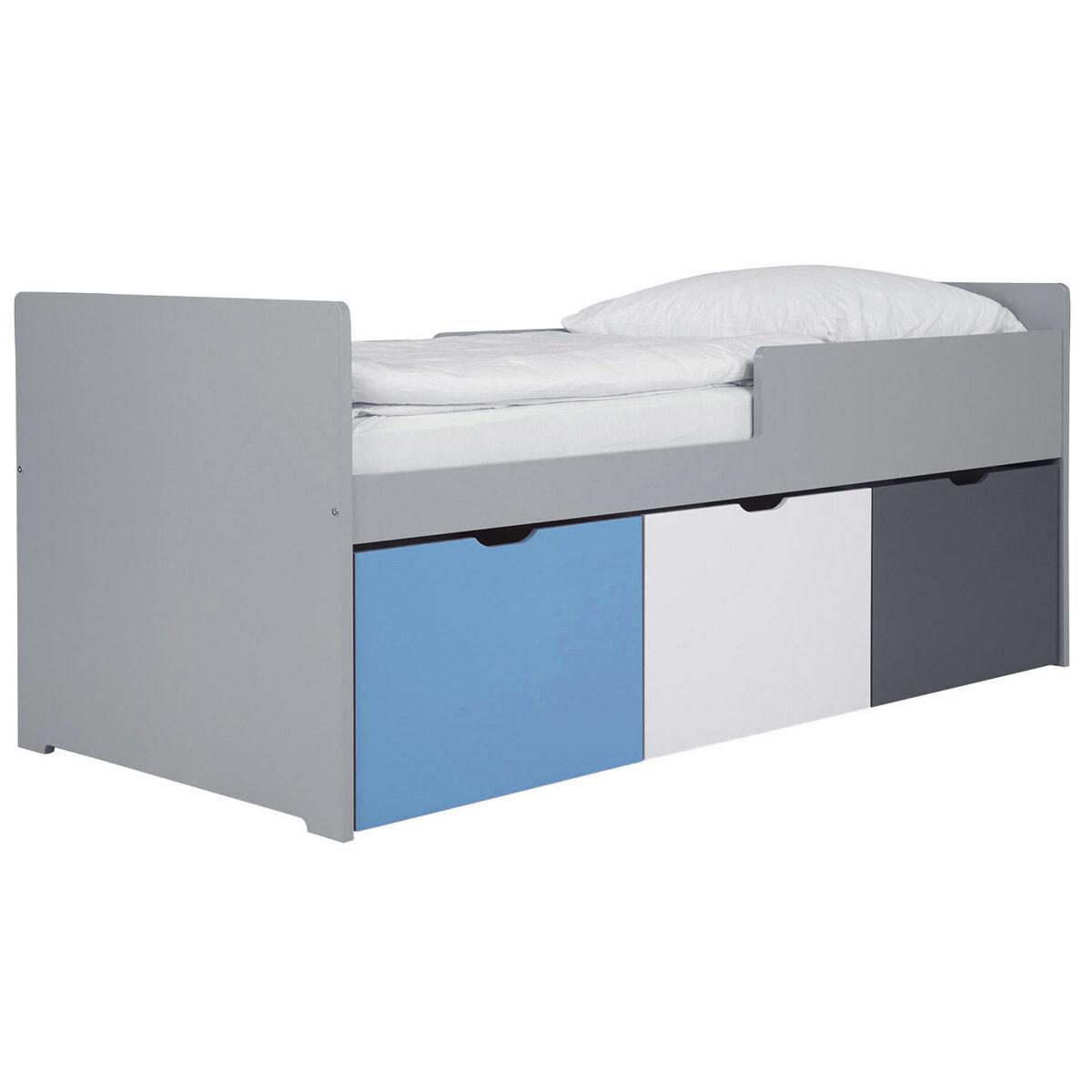 Miliboo Lit enfant à tiroirs 90x190 cm bleu, blanc et gris JULES