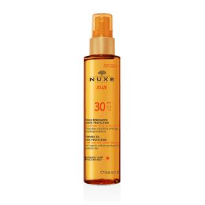 Nuxe Sun Huile bronzante visage et corps SPF30, Spray 150ml Une huile solaire avec une protection cellulaire anti-âge pour un bronzage sublime