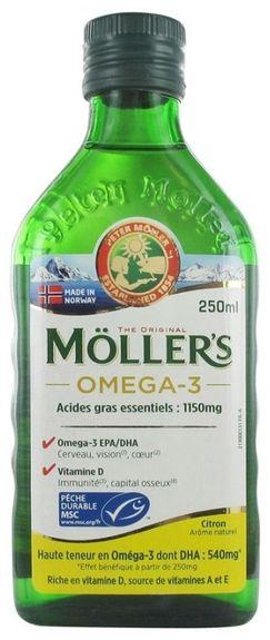 moller's Möller's Omega-3 Arôme Citron 250 ml Huile de foie de morue Acide gras essentiel 1200mg