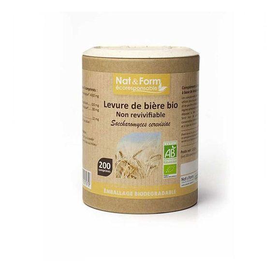 nat et form Nat & Form Levure de Bière Bio 200 comprimés Poudre de levure bière non revivifiable Bio* 300 mg