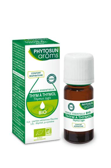 Phytosun Aroms BIO HE Thym à Thymol 10ml Certifiée bio. HEBBD (huiles essentielles botaniquement et biochimiquement définies).