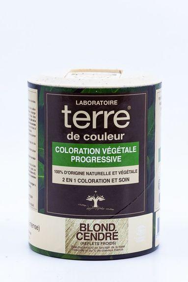 Terre de Couleur Soin colorant 100% végétal Doré cendré pot 100g Soin colorant 100% végétale pour cheveux blancs à chatain clairs