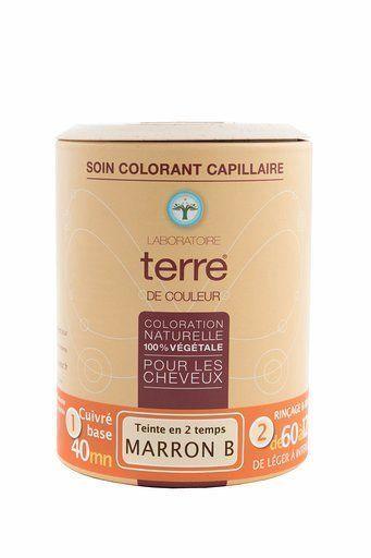 Terre de couleur coloration végétale marron B pot 100g Teinte en 2 temps