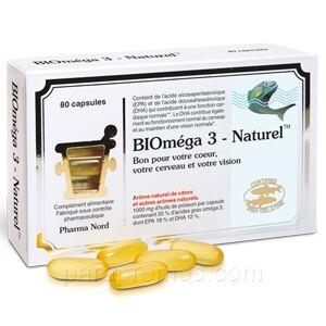 pharma nord Bioméga 3 nature/Bio-marine 80 capsules Pharma Nord L'huile de poisson naturelle au goût de citron frais.Remplie facilement et parfaitement les besoins de notre corps en oméga3 (non produit par le corps)