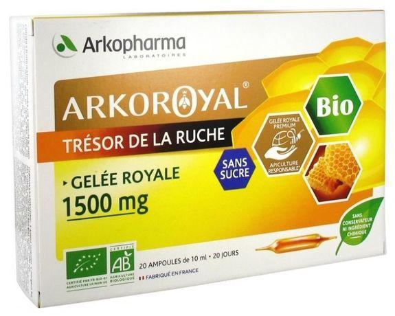 arkopharma ARKO ROYAL Gelée Royale Bio sans sucre 1500mg. 20 Ampoules à base de Gelée Royale. Goût Orange Miel.Complément alimentaire Fortifiant