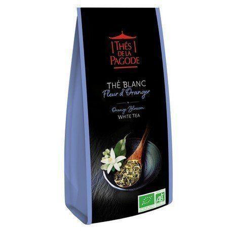 """thés de la pagode Thé Blanc à la Fleur d?Oranger bio 110g Délicatement parfumé à la Fleur d'Oranger, ce thé blanc voluptueux d'une grande finesse a pour base un très beau """"""""Paï Mu Tan"""""""", qui signifie """"""""la Pivoine Blan"""