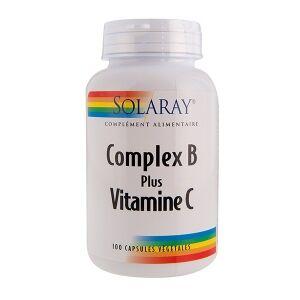 Solaray Complex B plus Vitamine C - 100 capsules végétales Complément alimentaire associant des vitamines du groupe B et 180 mg de vitamine C par capsule.