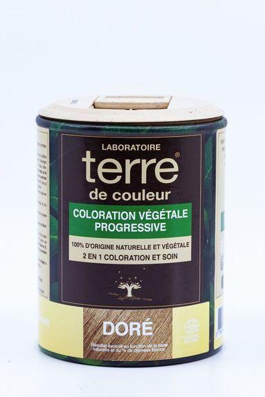 Terre de Couleur - Soin colorant 100% végétal Doré pot 100g Soin colorant 100% végétale pour cheveux blancs à chatain clairs