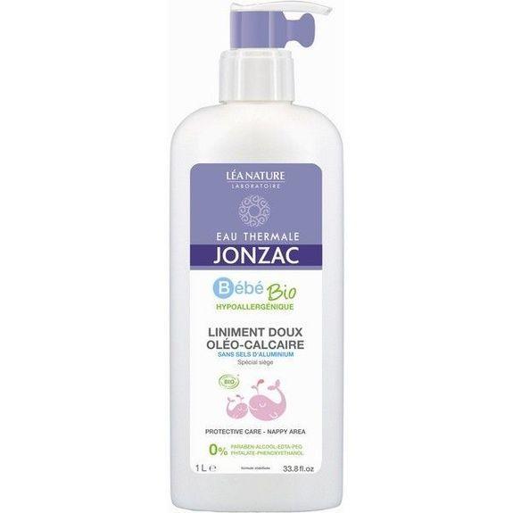 Jonzac Bébé Bio Liniment doux Oleo-calcaire bébé 1Litre Hypoallergénique. Sans sels d'aluminium. Sans paraben, à l'eau thermale de Jonzac.