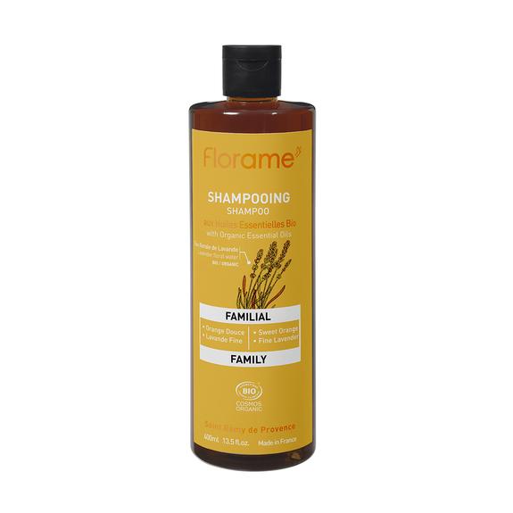 Florame Shampooing Familial bio 400ml Formulé sans sulfate, prend soin des cheveux de toute la famille