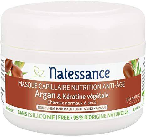 Natessance Masque Argan et Keratine vegetale 200ml Le soin qui redonne aux cheveux normaux à secs, force et beauté.