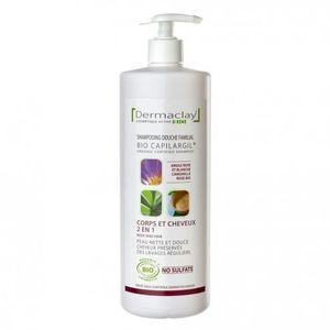 Dermaclay Bio shampooing douche familial 2 en 1- 1 litre Argile rose et blanche camomille rose Peau nette et douce