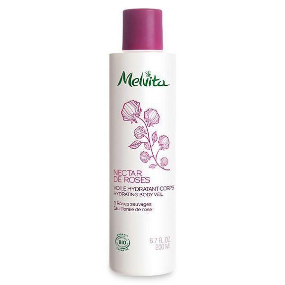 Melvita Nectar de Roses Voile Hydratant Corps bio 200 ml Le lait corps à la rose bio est un fluide à la texture légère