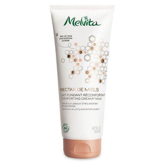 Melvita Nectar de Miels Lait Bio Fondant Réconfortant 200 ml Pour nourrir les peaux sèches et sensibles.