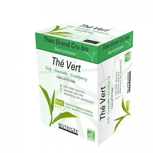 Nutrigee Thé Vert Bio Antioxydant 30 sachets Les Thés Grand Cru bio sont enrichis en extraits végétaux bio grâce au procédé innovant CVS qui restitue intégralement les principes actifs des plantes.
