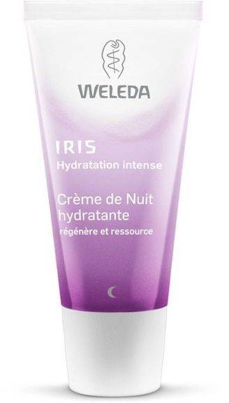 Weleda Crème de Nuit iris hydratante 30ml Cette crème de texture riche, soutient l?épiderme dans sa phase nocturne de régénération et ressource intensément la peau.