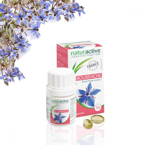 Naturactive Bourrache 60 capsules L?huile de bourrache, extraite de la graine, contient des acides gras essentiels (oméga 6). Elle contribue à préserver le capital jeunesse de votre peau. Par son action nutritive, elle contribue à l?hydratation et à la so