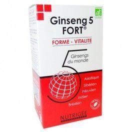 Nutrigée Ginseng 5 Fort Bio - 60 comprimés La synergie des 5 meilleurs ginsengs bio du monde