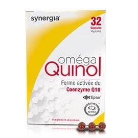 Synergia Oméga Quinol 32 capsules Formulé à base d?Ubiquinol, la forme active du Coenzyme Q10.
