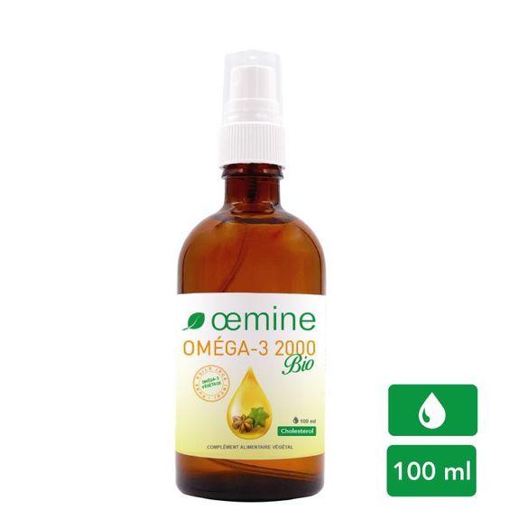 Oemine Oméga 3 biologique 2000 Flacon 100ml huile Inca inchi biologique riche en oméga-3 végétaux