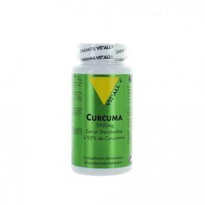 Vitall+ Curcuma 1000mg- 60 comprimés format éco Particulièrement conseillée en médecine traditionnelle pour soulager des états inflammatoires et améliorer la digestion et l?assimilation.