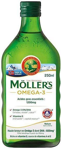 moller's Möller's Omega 3 Sans Arôme 250 ml Huile de foie de morue Acide gras essentiel 1200mg