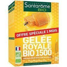 Santarome Gelée royale BIO 1500 - 30 ampoules x 10ml A partir de gelée royale, riche en vitamines et oligo-éléments.