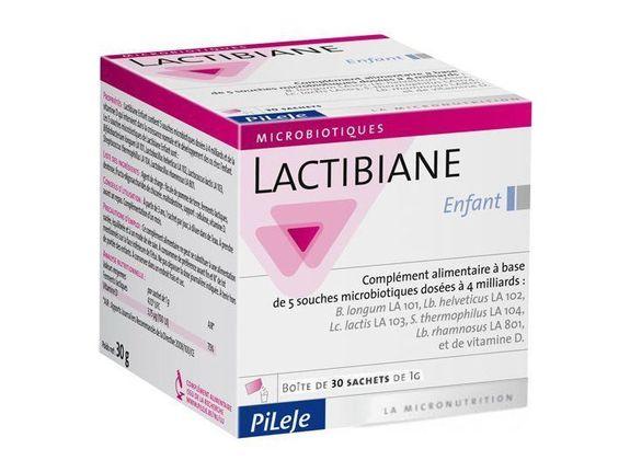 pileje Lactibiane Enfant 30 sachets de 1 g pileje Complément alimentaire à base de 5 souches microbiotiques dosées à 4 milliards et de vitamine D