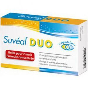 densmore Suveal Duo 60 capsules Densmore Oméga 3, Lutéine, Zéaxanthine, vitamines et minéraux antioxydants à visée oculaire.