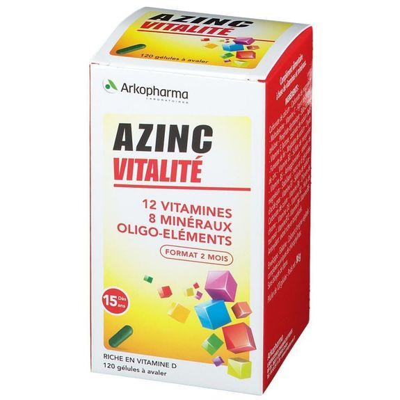 arkopharma Azinc forme et vitalité boite de 120 capsules format de 2 mois Complément Alimentaire à base de Vitamines, Minéraux et Oligo-éléments.