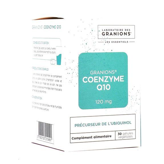 Granions Coenzyme q10, 30 gélules COENZYME Q10 120MG du LABORATOIRE DES GRANIONS est un complément alimentaire antioxydant, qui favorise le bon fonctionnement de votre coeur, améliore votre condition physique et la récupération après l'effort en agissant sur la production énergétique
