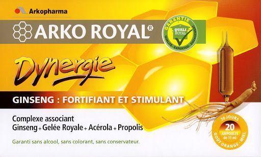 arkopharma ArkoRoyal, Dynergie: Complexe Stimulant, 20 ampoules Complexe à base de ginseng, gelée royale, acérola et propolis spécialement formulé pour stimuler les défenses naturelles