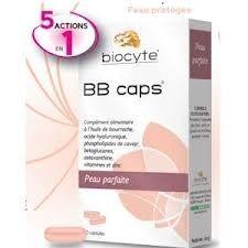 Biocyte BB Caps Peau Parfaite. Boite 60 gélules complément alimentaire à l'huile de bourrache, acide hyaluronique et vitamines