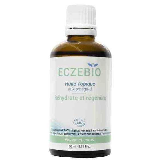 Oemine Eczebio topique huile 60ml Mélange d?huiles riches en oméga 3 et en oméga 6, pour reformer la barrière lipidique protectrice de la peau. Avec un complexe de vitamines E naturelles (4 tocophérols).