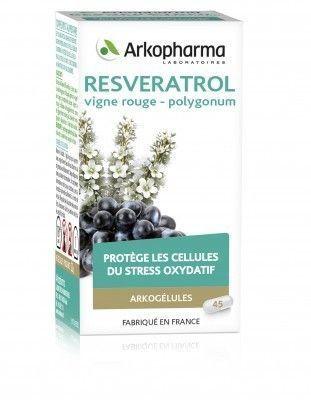 arkopharma Resveratrol Arkopharma - boite de 45 gélules complément alimentaire qui contient de la vigne rouge et du polygonum. Ces plantes aident à préserver du vieillissement cellulaire