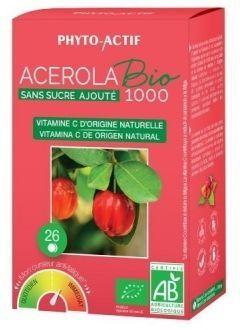 Phyto Actif Acerola bio 1000 sans sucre ajouté 26 comprimés ACEROLA BIO 1000 SANS SUCRE ajouté** contient 1000mg d'acerola bio soit 170mg de vitamine C naturelle par comprimé (212,5% AJR*).?