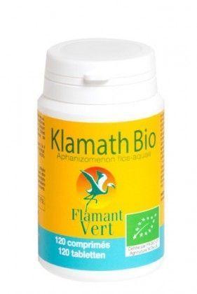 Flamant Vert Klamath bio 120 comprimés L?Aphanizomenon Flos Aquae également appelée AFA-KLAMATH est une micro algue d?eau douce que l?on ne trouve qu?à l?état sauvage dans un lac situé au sud de l?Oregon (USA), le lac KLAMATH.