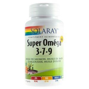 Solaray super Oméga 3-7-9 + Vitamine D3 - 60 gélules Combinaison parfaitement équilibrée d?huile de saumon, d?huile d?argousier et d?huile d?olive, le tout associé à de la vitamine D3.
