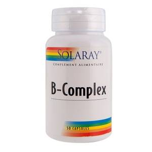 Solaray B complex - 50 capsules La vitamine B permet de combler les carences de l'organisme et intervient dans le bon fonctionnement du système nerveux
