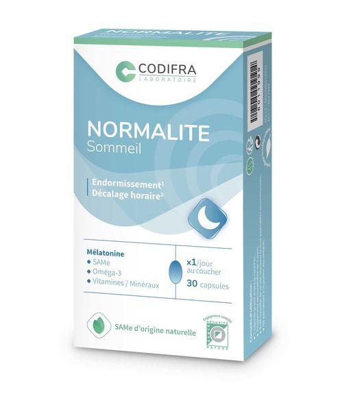Codifra Normalite sommeil 30 capsules Complément alimentaire à base d'huile de poisson, minéraux, vitamines, mélatonine et S-Adenosyl-L-Methionine