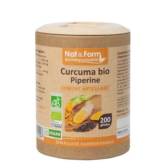 nat et form Nat & Form Curcuma Piperine Bio 200 gélules Poudre de curcuma bio* 300 mg + poivre