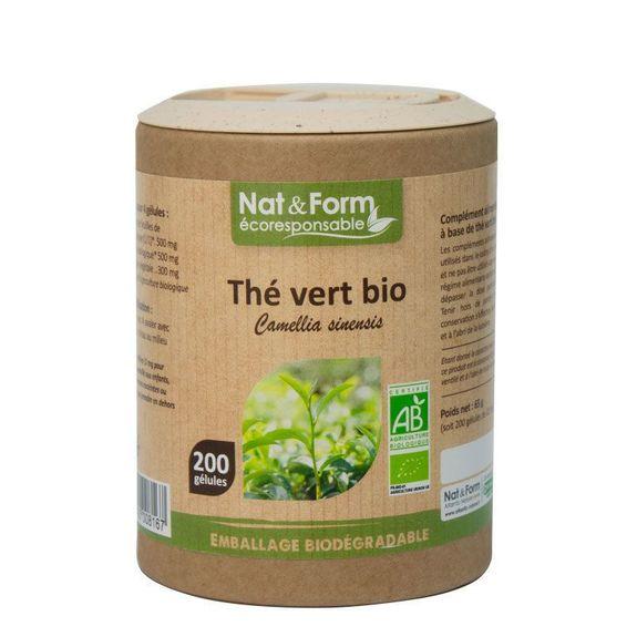 Nat & Form Thé Vert Bio 200 gélules Extrait aqueux de thé vert Bio* 125 mg