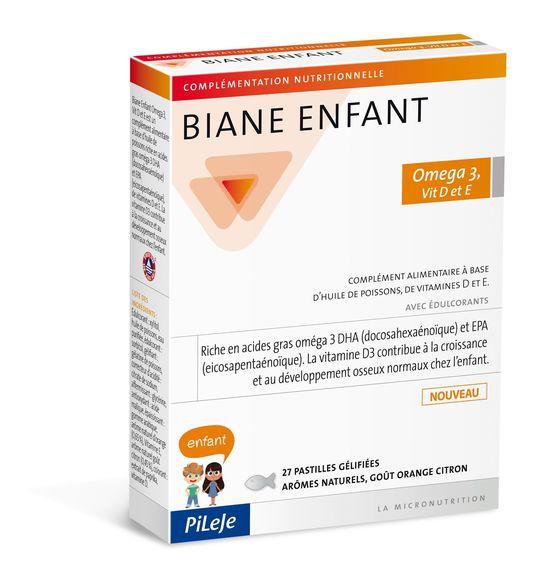 Pileje Biane Enfant Oméga 3, Vit D et E - 27 Pastilles gélifiées Complément alimentaire à base d'huile de poissons, de vitamines D et E pour enfant