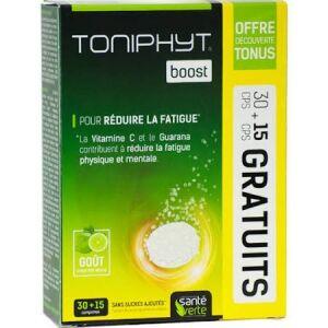 Santé Verte toniphyt Boost 30 + 15 comprimés Complément alimentaire sous forme de comprimés effervescent goût citron vert - menthe. Sans sucres ajoutés