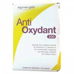 Synergia Anti oxydant 200, 60 capsules Complément alimentaire à base de vitamine C, vitamine E, caroténoïdes naturels, lycopène, lutéine et sélénium.