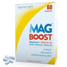 Synergia Mag Boost 60 comprimés Des comprimés au magnésium sans effet secondaire sur le transit.