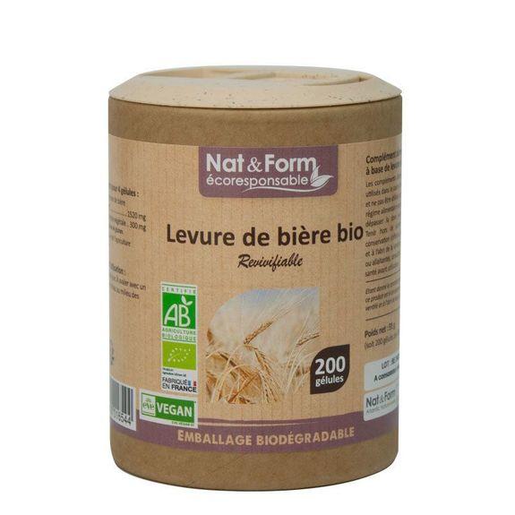 nat et form Nat & Form Levure de biere revivifiable bio 200 gélules Pour la beauté de la peau, des ongles et des cheveux et le bien-être intestinal.