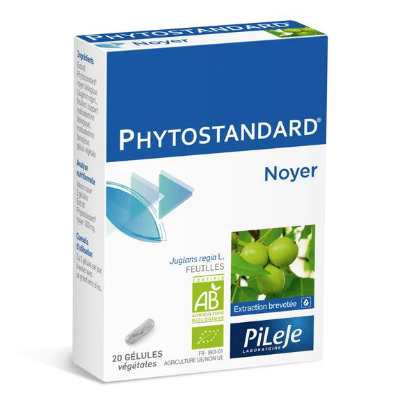 pileje Phytostandard Noyer 20 gélules Complément alimentaire à base d'extrait de noyer biologique